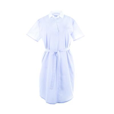 stripe belted shirtdress skyblue
